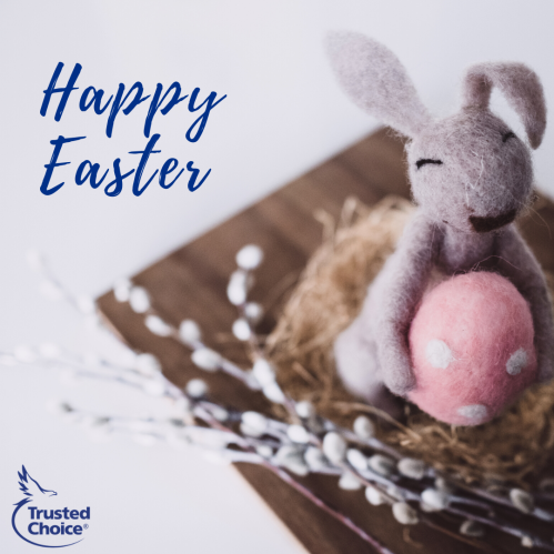 Happy Easter greeting with a bunny stuffed animal holding a pink egg