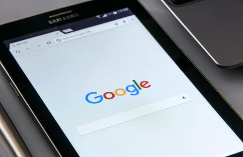 Google search bar on a tablet