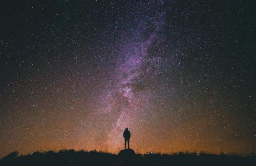 Person looking at starry sky