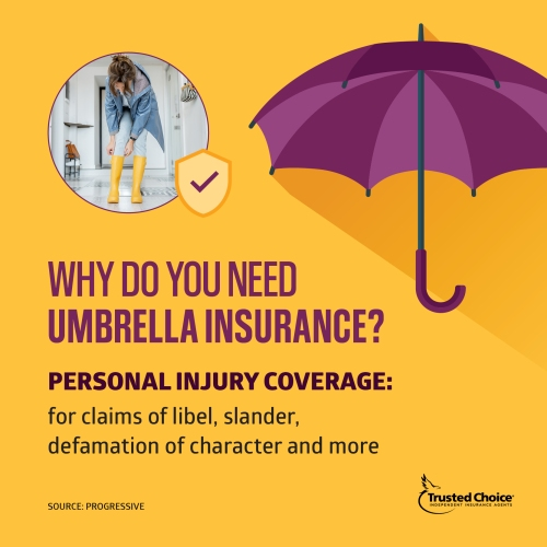 Illustrated purple umbrella with photo of woman in rainboots