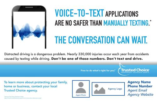 Illustrated cell phone showing voice to text