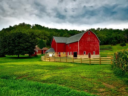 A red barn in a field