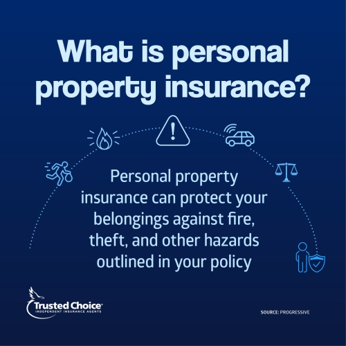 Personal property definition on blue background