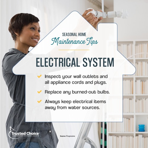 Electrical system tips on a photo of a woman hanging a lightblub