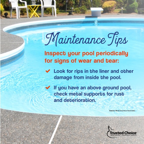 Pool maintenance tips on a photo of a pool