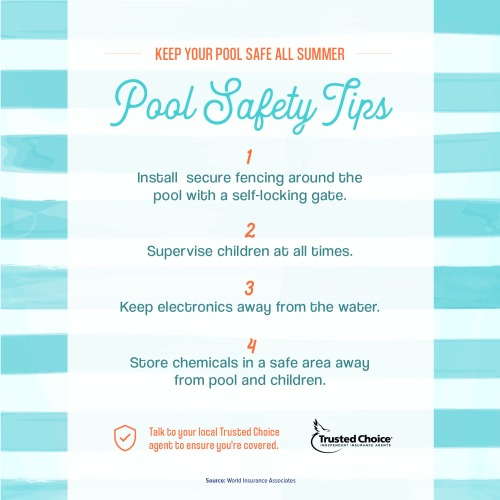 4 pool safety tips on a blue background